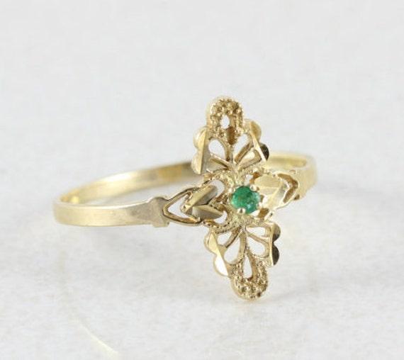 Green Emerald 10k Yellow Gold Natural Green Emeral