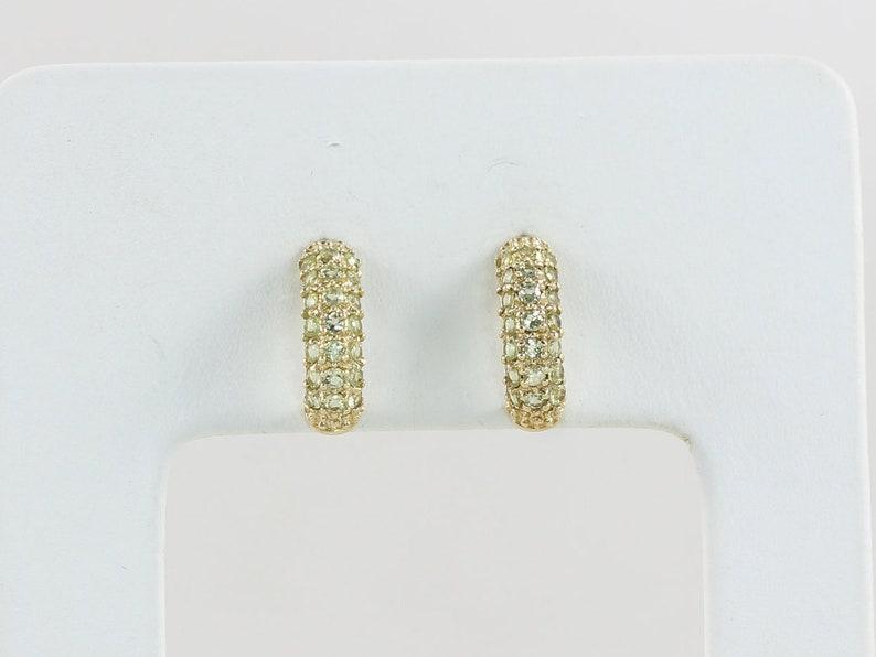 14k Yellow Gold Natural Green Peridot Stud Post Half Hoop Earrings