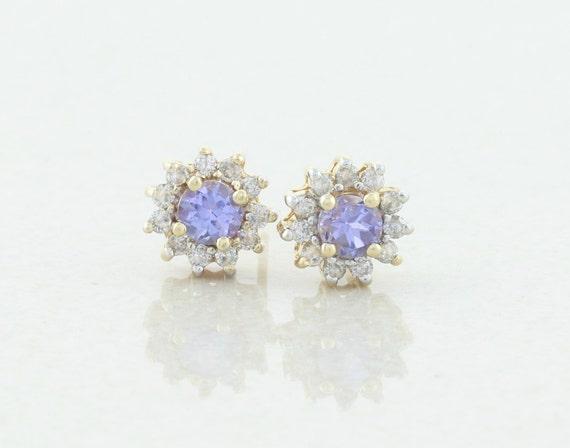 14k Yellow Gold Natural Tanzanite and Diamond Earrings Stud Post Earrings