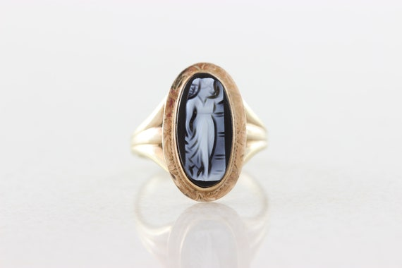 10k Yellow Gold Black Cameo Ring Antique Ring Vict