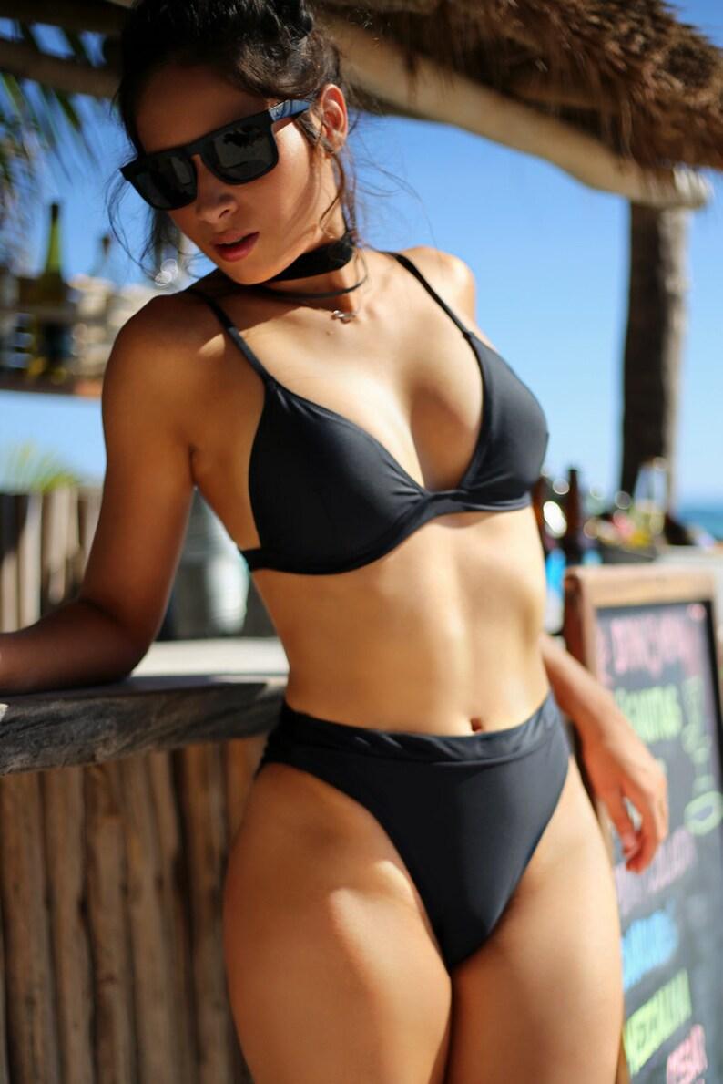 f21d4eb57c3c3 Black Triangle Bralette Bikini Top Adjustable Shoulder Strap