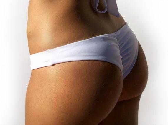 d2c2bec7fefc3 Reversible White White Scrunch Bikini Bottom Classic Waist