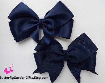 """Wedding Flower Girl Large 5"""" Girls Navy Blue Hair Bow Clip Long Tails Navy Bow"""