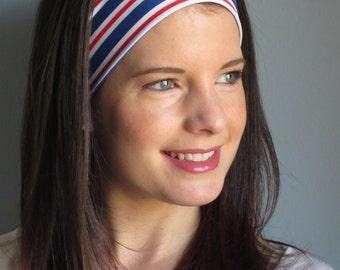 Fourth of July Headband, Patriotic Headband, American Headband, Red,White and Blue Striped Headband, USA Headband, Race Headband