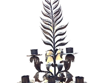Candle Sconce Antique Candelabra Leaf Motif Church Candle