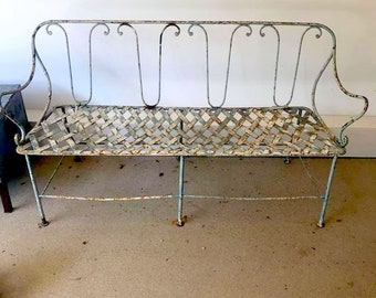 Metal Garden Bench French Antique Iron Settee Cottage Chic