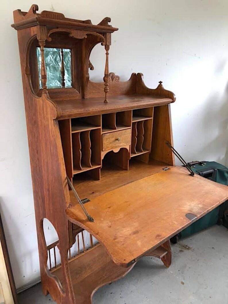 Antique Secretary Desk Etsy >> Oak Desk Victorian Secretary Drop Front Writing Desk