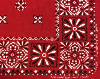 Vintage Tower Bandana 1950's Red Floral Print Guaranteed Fast Color All Cotton RN 13960