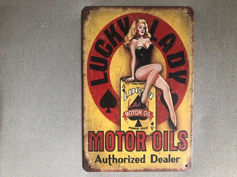 RETRO VINTAGE LOOK: Lucky Lady Motor Oil Metal Sign Weathered image 0