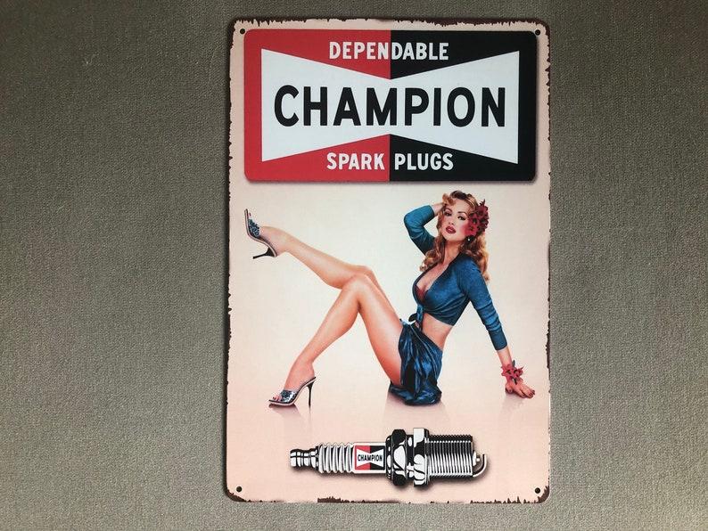 RETRO VINTAGE LOOK: Champion Spark Plugs Metal Sign Weathered image 0