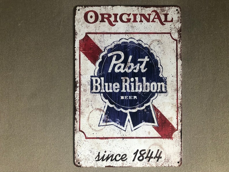 RETRO VINTAGE LOOK: Pabst Blue Ribbon Beer Metal Sign image 0