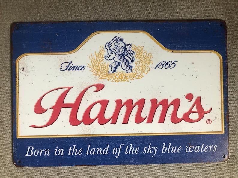 RETRO VINTAGE LOOK: Hamms Beer Metal Sign Weathered Look Sign image 0