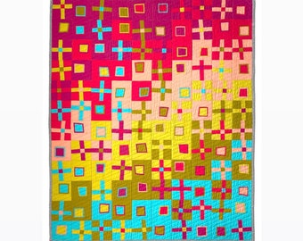 Modern Quilt Pattern Crooked Crosses and Bent Boxes, a semi-improv quilt pattern by Felt Like Sweets, pdf digital download