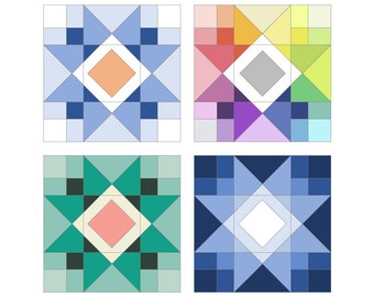 Modern Quilt Block Pattern, Driving to Ohio Star, a digital contemporary quilt block pattern by Felt Like Sweets, pdf digital download