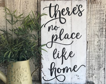 There's no place like home rustic wood sign for gallery wall housewarming gift