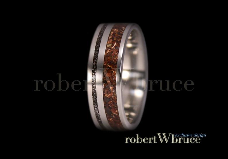 Exclusive rWb Custom Design Tyrannosaurus /& Meteorite Ring Dinosaur Bone Ring  Titanium Groom/'s Wedding Band