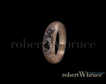 Gold & Meteorite Ring Sz-12 / Handcast 10K Gold / Wedding Band / robertWbruce One of a Kind Design