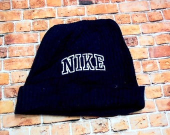 3c450d2362c NIKE Embroidered logo Dark Beanie Knit Hat One Size Fits All Acrylic Wool