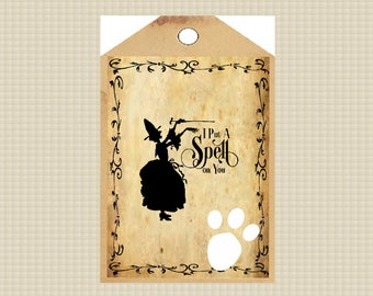Halloween Vintage Look 2X4 Label-Label for Witches-Bottles, Boxes, Book, Journels or Tags, INSTANT DOWNLOAD