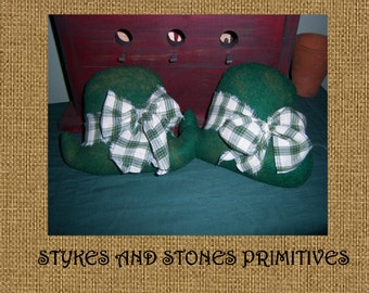 Primitive Spring St. Patrick's Day Lucky Irish Derby Hat Bowl Fillers Ornies Tucks Mailed Paper Pattern