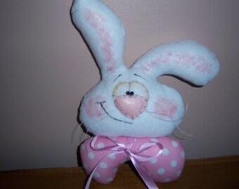 Primitive Folk Art Spring Easter Bunny Rabbit Bowl Filler Shelf Sitter Ornie Wreath Door Hanger