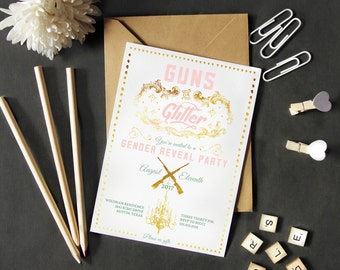 Guns or Glitter Gender Reveal Party Invitation, Pink and Gold Reveal Invites, Printed or Printable Cards