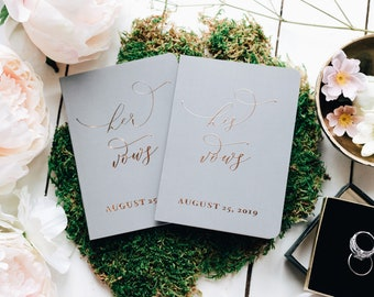 cc9f906ef96b Gray Wedding Vow Books, Personalized His and Hers Wedding Vow Books, Real  Rose Gold Foil Booklets, Set of Two, Elegant and Classy