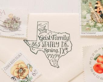 State Stamp State Return Address Stamp Housewarming Gift Custom Rubber Stamp Texas Stamp Personalized Gift Custom Stamp Newlywed Gift