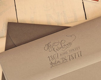 Calligraphy Inspired Return Address Stamp, Whimsical Hand Lettered Stamp, Family Rubber Stamp
