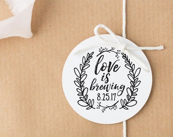 Love is Brewing Stamp, Coffee Sleeve Stamp, Wedding Favor Stamp, Wedding Stamp, Coffee Stamp, Tea Stamp, Personalized Stamp, Favor Ideas