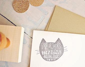 Cat Return Address Stamp, Custom Rubber Stamp, Wood Mounted Stamp