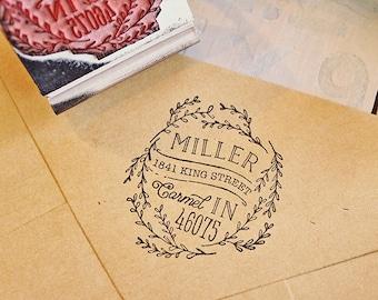 Rustic Return Address Stamp Floral Wreath Stamp Circular Rubber Stamp Laurel Stamp Wedding Invitation Stamp Rustic Stamp Rustic Wedding