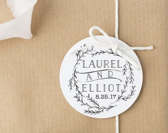 Rustic Wedding Favor Stamp With Wreath Custom Rubber Personalized Names First