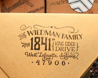 Cutest Little Return Address Stamp, Housewarming Gift, Personalized Rubber Stamp, Wood Handle, Family Stamp, Vintage Stamp, Custom Stamp