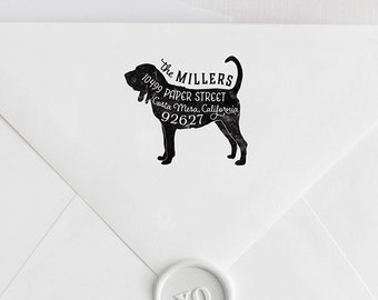 Bloodhound Return Address Stamp, Housewarming & Dog Lover Gift, Personalized Rubber Stamp, Wood Handle or Self Inking, Hunting Coonhound