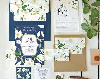 Rustic Wedding Invitation, Floral Wedding Invitation, Wedding Invites, Printable Invitation, Summer Wedding Invitation, Watercolor Magnolia