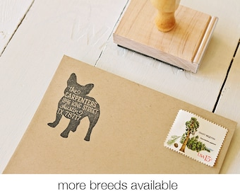 Dog Return Address Stamp, Frenchie, Housewarming & Dog Lover Gift, Personalized Rubber Stamp, French Bulldog Stamp, More Breeds Available