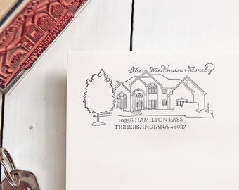 House Portrait Stamp, Personalized Gift, Return Address Stamp, Housewarming Gift, New Home, Wedding Gift, Christmas Gift, Custom Portrait