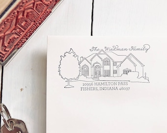 House Return Address Stamp, Mother's Day, Custom Portrait, Illustrated Drawing, Home on a Stamper, Personalized, Housewarming Gift, New Home