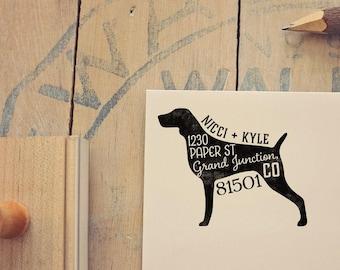 Weimaraner Return Address Stamp, Housewarming & Dog Lover Gift, Personalized Rubber Stamp, Wood Handle