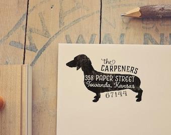 Dachshund Return Address Stamp, Housewarming & Dog Lover Gift, Personalized Rubber Stamp, Wood Handle, Weiner Dog Stamp