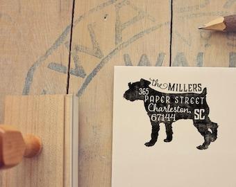 Schnauzer Return Address Stamp, Housewarming & Dog Lover Gift, Personalized Rubber Stamp, Wood Handle