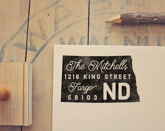 North Dakota Return Address Stamp State Personalized Gift Housewarming Newlywed Rubber Custom