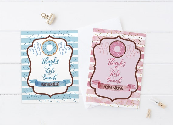 Donut Birthday Party Thank You Cards In Pink And Blue Printable Diy