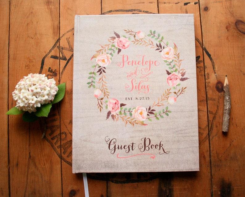 Boho Guest Book Rustic Wedding Guest Book Floral Guest