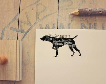 German Shorthaired Pointer Dog Return Address Stamp, Dog Owner Gift, Wooden Handle, Custom Rubber Stamp or Self Inking