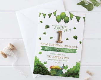 Lucky One, St. Patrick's Day First Birthday Party Invitation, Saint Patty's Day Invite, Shamrock Birthday for a Boy or Girl