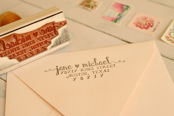 romantic return address stamp wedding invitation stamp wedding etsy