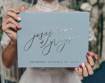 Dusty Blue Guestbook • Modern Wedding Guest Book  • Rustic Photo Book • Silver Foil Hardcover Wedding Album • Horizontal Keepsake Book