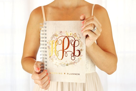 wedding planner book copper foil monogram planner personalized